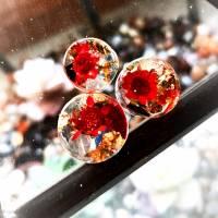Plug,  Blüte,Stein und Goldfolie, Harz, handmade,Piercing ,Ohrpiercing , 1 Stück Bild 2