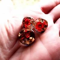 Plug,  Blüte,Stein und Goldfolie, Harz, handmade,Piercing ,Ohrpiercing , 1 Stück Bild 3