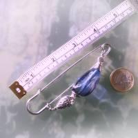 Schalnadel blau silber böhmisches Glas, 10cm lange Kiltnadel mit großem Glasnugget Bild 3