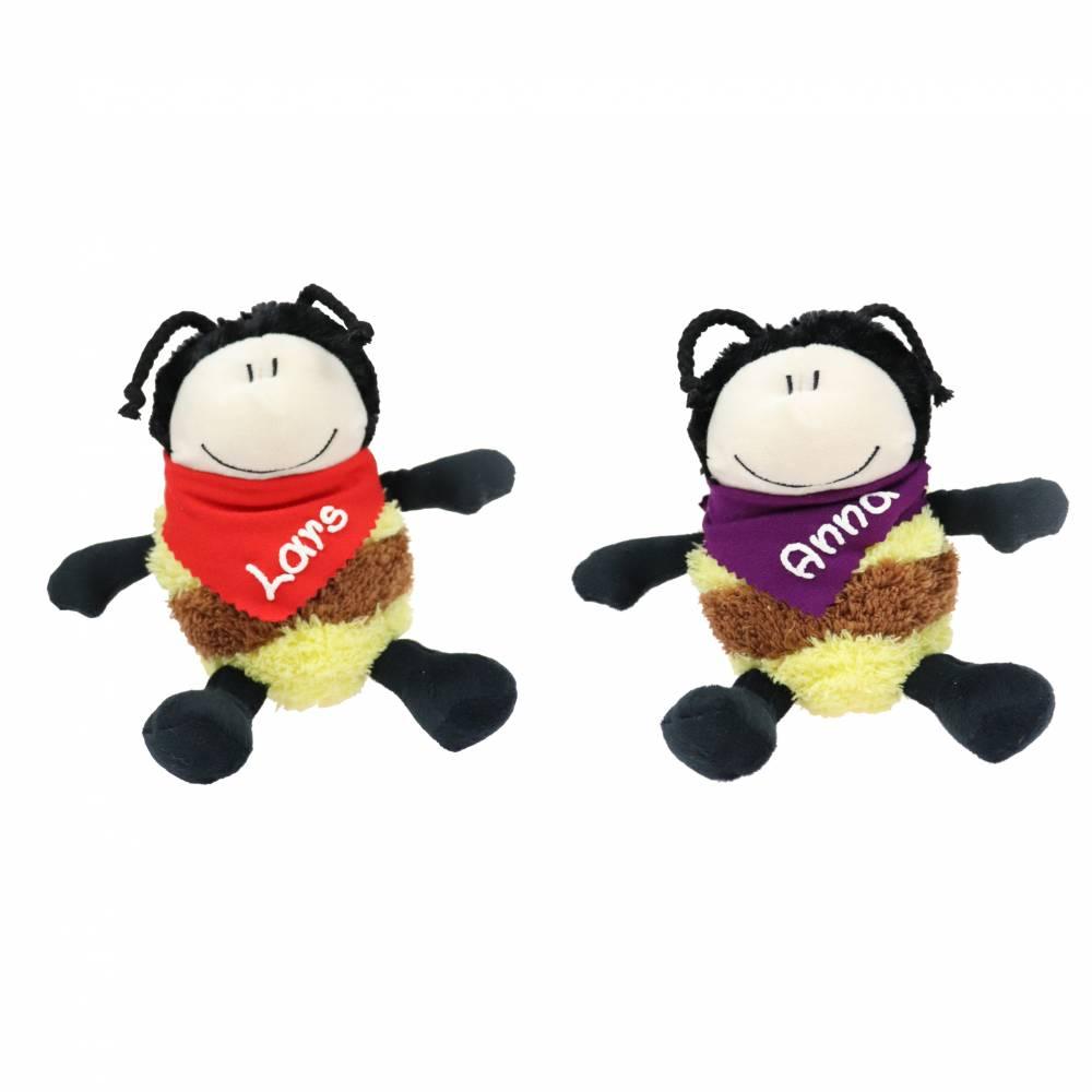 Kuscheltier Biene schwarz gelb 14cm mit Namen am Halstuch - Personalisierte Schmusetiere für Jungen und Mädchen Bild 1