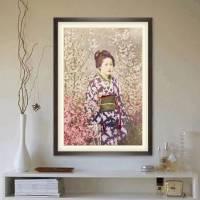 Portrait Geisha mit Kirschblüten Vintage, Japanische Kunst gerahmter Kunstdruck Bild - Collotype ca. 1880 - Geschenk  Bild 2