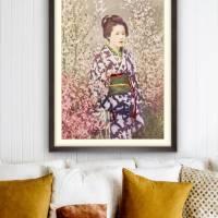 Portrait Geisha mit Kirschblüten Vintage, Japanische Kunst gerahmter Kunstdruck Bild - Collotype ca. 1880 - Geschenk  Bild 4