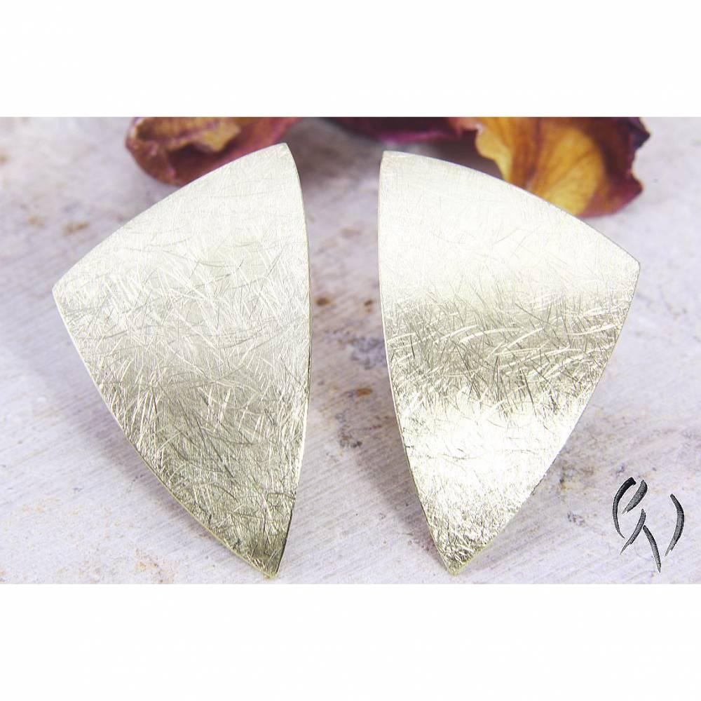Ohrstecker Gold 585/-, großes ungleiches Dreieck, mattgekratzt Bild 1