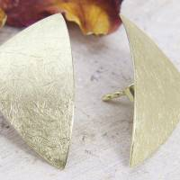 Ohrstecker Gold 585/-, großes ungleiches Dreieck, mattgekratzt Bild 2