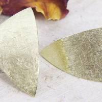 Ohrstecker Gold 585/-, großes ungleiches Dreieck, mattgekratzt Bild 3