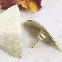 Ohrstecker Gold 585/-, großes ungleiches Dreieck, mattgekratzt Bild 6