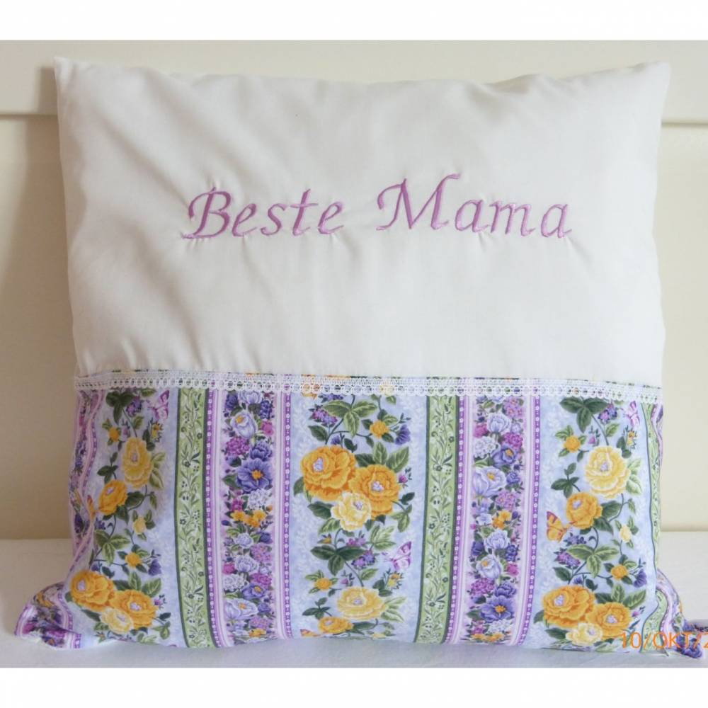 Kissen 'Beste Mama', Geschenk Muttertag, Batist trifft Rosen, Unikat von hessmade Bild 1