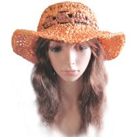 Damen Sonnenhut Sommerhut *Sommer* Gr. L 59 XL 60 cm Kopfumfang mit Papiergarn gehäkelt Bild 1