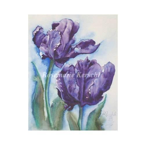 Lila Tulpen Aquarellbild handgemalt in Lila-, Blau- und Grüntönen 24 x 19 cm Hochformat