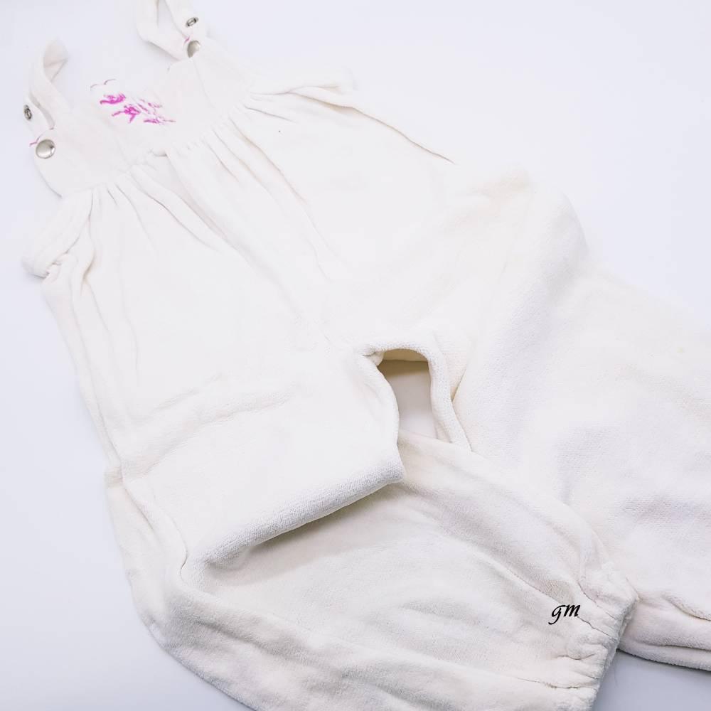 Vintage, weißer Strampler für Baby, Latzhose  Bild 1