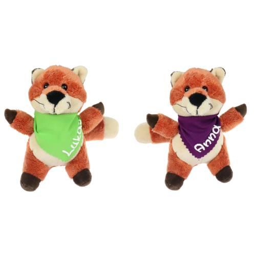 Kuscheltier Fuchs braun 15,5cm mit Namen am Halstuch - Personalisierte Schmusetiere für Jungen und Mädchen