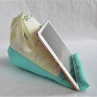 Retro Lesekissen Tabletkissen Pyramide Kissen Lesehilfe Baumwollkissen Homeschooling Frühling Vögel Pastell  Bild 3