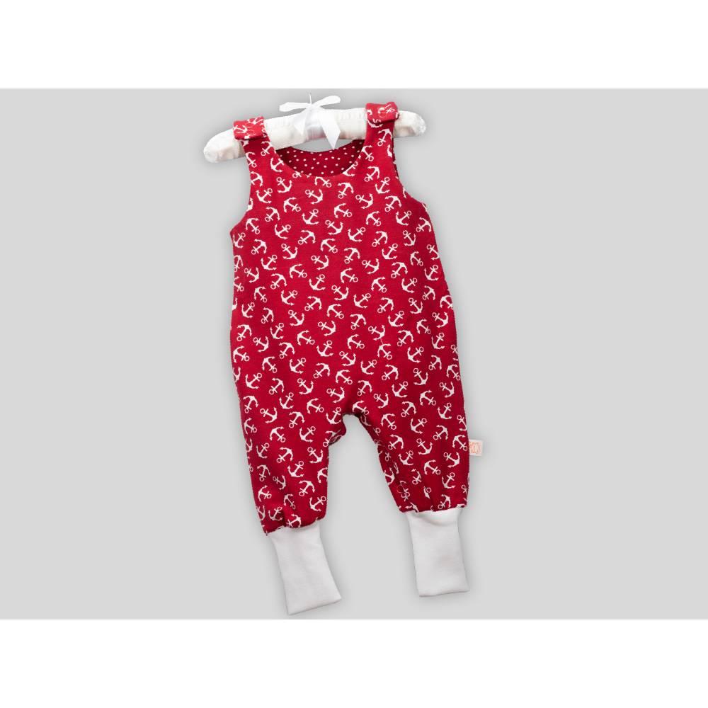 Baby Strampler Anker Rot mit Druckknöpfen Bild 1