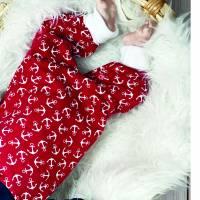 Baby Strampler Anker Rot mit Druckknöpfen Bild 2