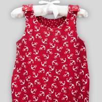 Baby Strampler Anker Rot mit Druckknöpfen Bild 5
