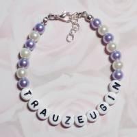 Perlenarmband mit Wunschtext *Trauzeugin, Braut, Brautjungfer... Bild 2