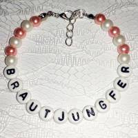 Perlenarmband mit Wunschtext *Trauzeugin, Braut, Brautjungfer... Bild 3