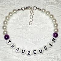 Perlenarmband mit Wunschtext *Trauzeugin, Braut, Brautjungfer... Bild 5
