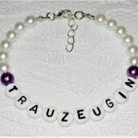 Perlenarmband mit Wunschtext *Trauzeugin, Braut, Brautjungfer... Bild 7