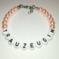 Perlenarmband mit Wunschtext *Trauzeugin, Braut, Brautjungfer... Bild 8
