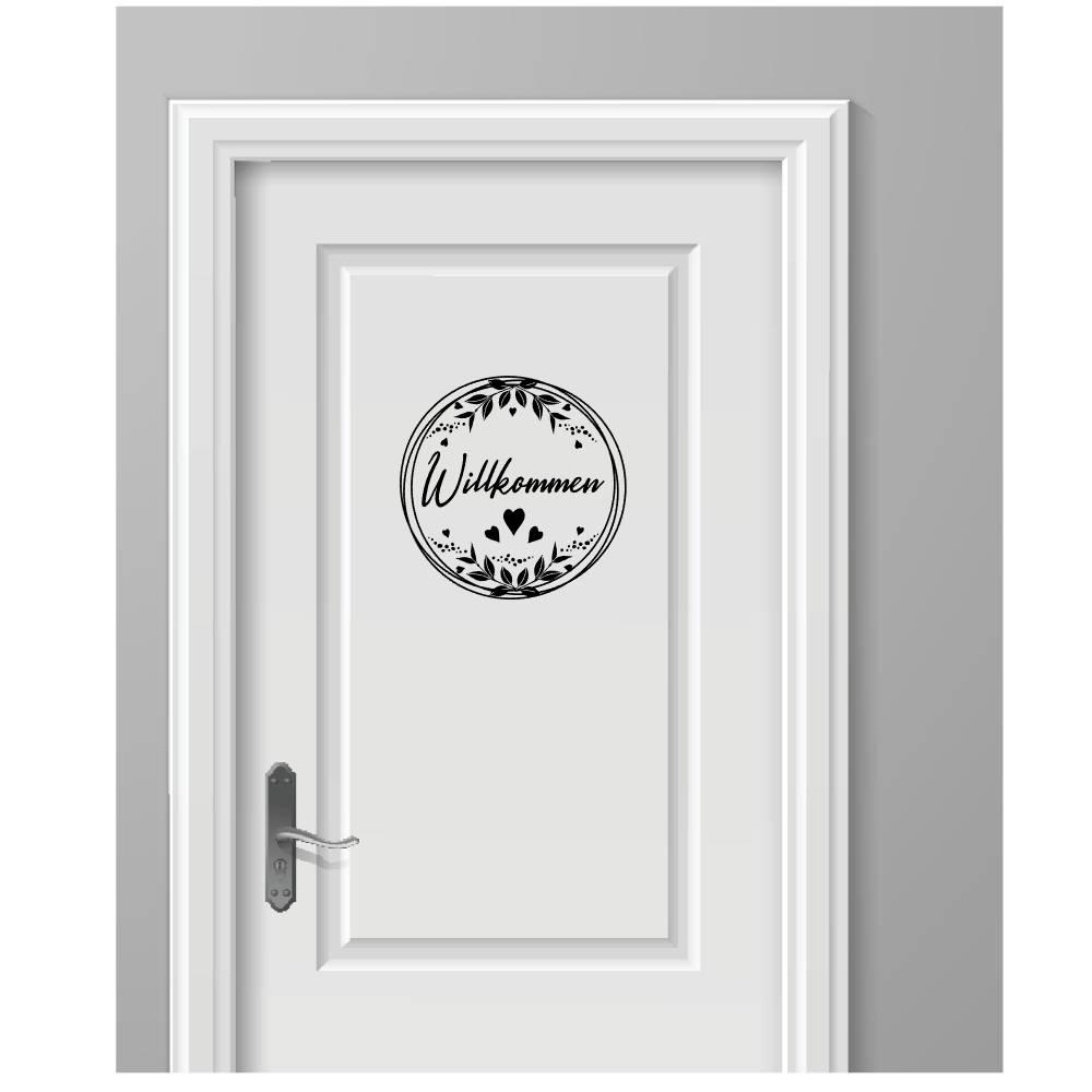 Sticker Aufkleber Willkommen Türschild Haustür Türaufkleber  Bild 1
