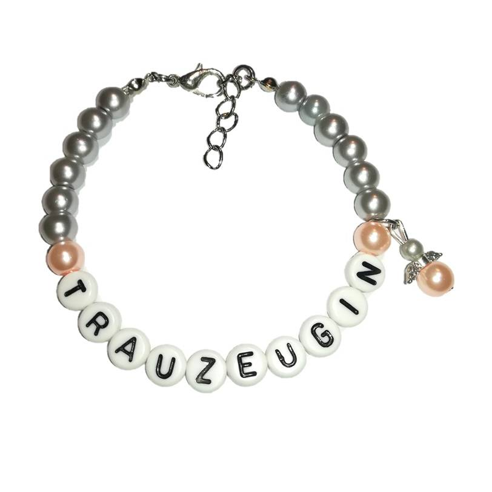 Perlenarmband mit Wunschtext + Schutzengel *Trauzeugin, Braut, Brautjungfer... Bild 1