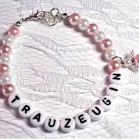 Perlenarmband mit Wunschtext + Schutzengel *Trauzeugin, Braut, Brautjungfer... Bild 2