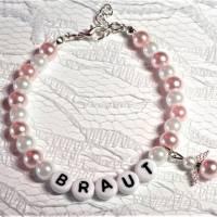 Perlenarmband mit Wunschtext + Schutzengel *Trauzeugin, Braut, Brautjungfer... Bild 3