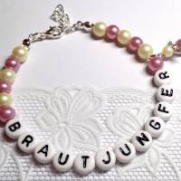 Perlenarmband mit Wunschtext + Schutzengel *Trauzeugin, Braut, Brautjungfer... Bild 4