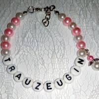 Perlenarmband mit Wunschtext + Schutzengel *Trauzeugin, Braut, Brautjungfer... Bild 6