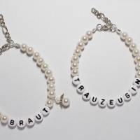 Perlenarmband mit Wunschtext + Schutzengel *Trauzeugin, Braut, Brautjungfer... Bild 9