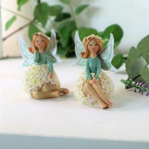 Frühlingsdeko, 2er Set, Elfe sitzend, grün weiß, Dekofigur, Stk. 5,95Euro, Floristikdeko