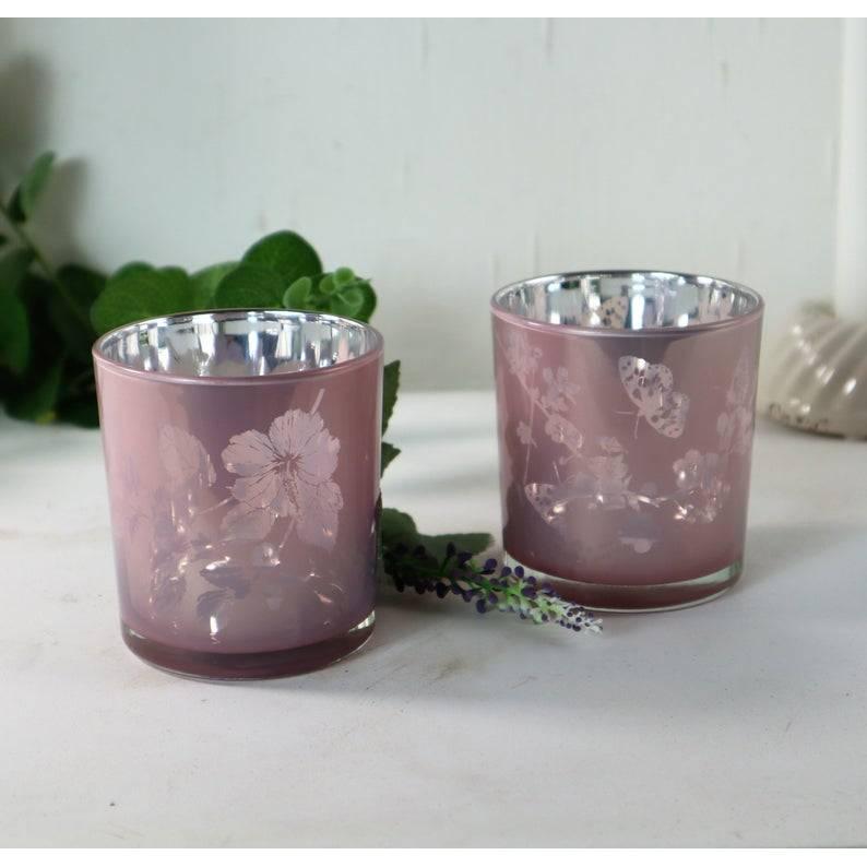 Teelichtgläser 2er Set rosa, Teelichthalter, Windlichtglas, Stückpreis 3,50 €, Floristikbedarf Bild 1