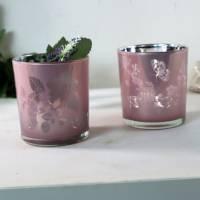 Teelichtgläser 2er Set rosa, Teelichthalter, Windlichtglas, Stückpreis 3,50 €, Floristikbedarf Bild 4