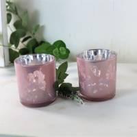 Teelichtgläser 2er Set rosa, Teelichthalter, Windlichtglas, Stückpreis 3,50 €, Floristikbedarf Bild 5