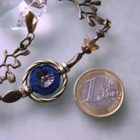 Sun Catcher mit großen Regenbogen Kristallen blaue Blume mit bronze Bild 5