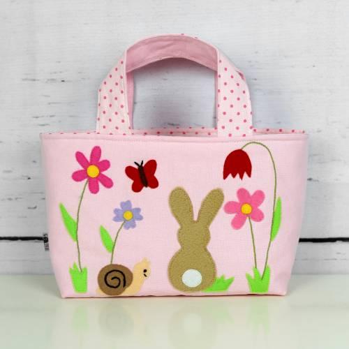 Kindertasche ~ Häschen in der Wiese | Wendetasche | Osterkörbchen | Geschenke für Kinder