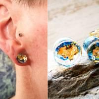 Plug, blau-gold, Harz, handmade,Piercing ,Ohrpiercing  Bild 1