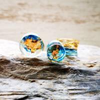 Plug, blau-gold, Harz, handmade,Piercing ,Ohrpiercing  Bild 3