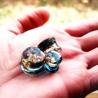 Plug, blau-gold, Harz, handmade,Piercing ,Ohrpiercing  Bild 4