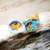 Plug, blau-gold, Harz, handmade,Piercing ,Ohrpiercing  Bild 5