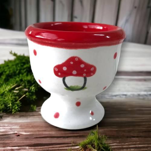 4 Eierbecher, Fliegenpilz, Keramik handbemalt