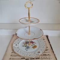 Wunderschöne 3 stöckige Etagere aus alten Geschirr Shabby (3) Bild 6