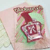 Exclusive Glitzer-Flacon Schüttelkarte Glückwunsch-Karte  mit Geldfach  Bild 5