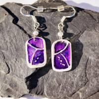 Ohrhänger mit schönem Muster aus 999 Silber, violett patiniert Bild 3