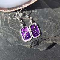 Ohrhänger mit schönem Muster aus 999 Silber, violett patiniert Bild 4