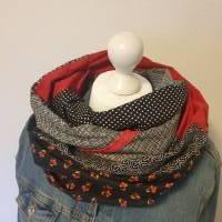 TaBo Loop Schal XXL Baumwolle Patchwork  schwarz rot kleine BlütenFrühjahr/Sommer  Bild 1