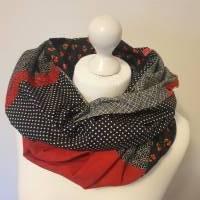 TaBo Loop Schal XXL Baumwolle Patchwork  schwarz rot kleine BlütenFrühjahr/Sommer  Bild 2