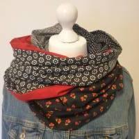 TaBo Loop Schal XXL Baumwolle Patchwork  schwarz rot kleine BlütenFrühjahr/Sommer  Bild 5