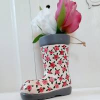 Gummistiefel-Blumentopf aus Keramik-handbemalt Bild 1